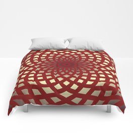 Classic Rosette Pattern in Red and Cream Comforters