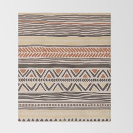 Hand Drawn Ethnic Pattern Throw Blanket