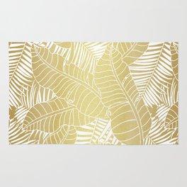 Golden tropical leaves Rug