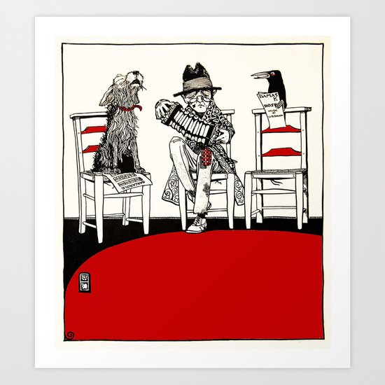 Vintage Concert Party with Dog and Crow Art Print