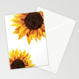 Polygonal Sunflower Stationery Cards