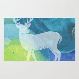 Deer in Blue Waters Rug