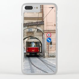 Tramway in old town of Prague Clear iPhone Case