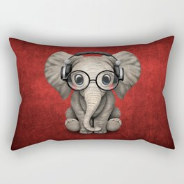 Cute Baby Elephant Dj Wearing Headphones and Glasses on Red Rectangular Pillow