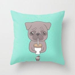 Pug, coffee & cupcake Throw Pillow