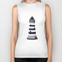 lighthouse Biker Tanks featuring LIGHTHOUSE by oslacrimale