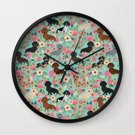Dachshund floral dog breed pet patterns doxie dachsie gifts must haves Wall Clock