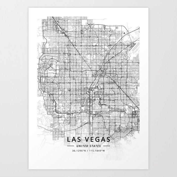 Las Vegas, United States - Light Map Kunstdrucke