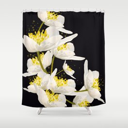 White Flowers On A Black Background #decor #buyart #society6 Shower Curtain
