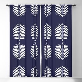 TROPICAL PALMS . BLUE + WHITE Blackout Curtain