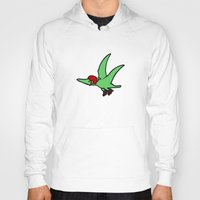 roller derby Hoodies featuring Roller Derby Pterodactyl by Jez Kemp