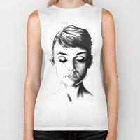 audrey hepburn Biker Tanks featuring Audrey Hepburn by Geryes