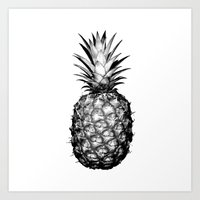 pinapple Art Prints featuring Black & White Pineapple by CumulusFactory
