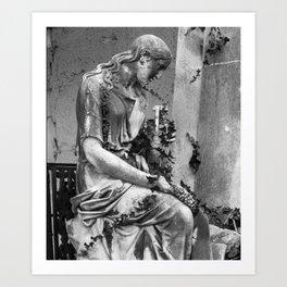 sad female statue Art Print