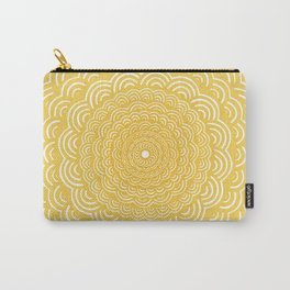 Spiral Mandala (Yellow Golden) Curve Round Rainbow Pattern Unique Minimalistic Vintage Zentangle Carry-All Pouch