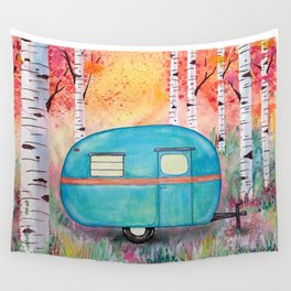 Vintage Camper Beach Towel Among the Birch Wall Tapestry