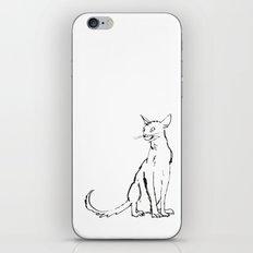 Skinny cat illustration iPhone & iPod Skin