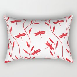 Drawing Vector Nature Red Dragonfly Rectangular Pillow