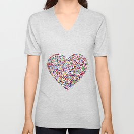 Heart flags countries Unisex V-Neck