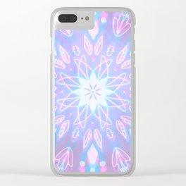 Purple, Teal, White Aura Mandala Clear iPhone Case