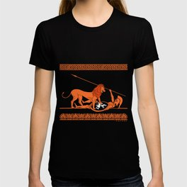 Hoplite and Lion (red on black) T-shirt