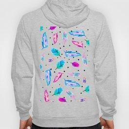 Boho watercolor pastel feathers polka dots Hoody