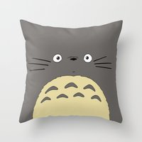 ghibli Throw Pillows featuring My neighbor troll - Studio Ghibli by Drivis