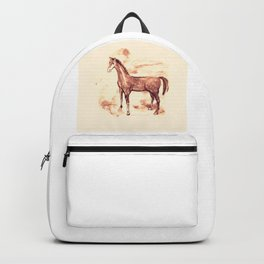 Horse sepia illustration Backpack