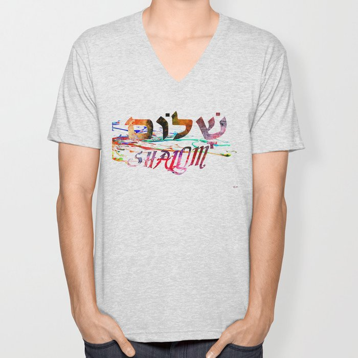 Shalom Hebrew Word Unisex V-Neck