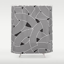 Modern Scandinavian B&W Black and White Curve Graphic Memphis Milan Inspired Shower Curtain