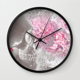 Negative Of Skull And Peonies Wall Clock