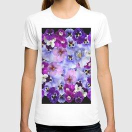 PURPLE-WHITE-PINK PANSY FLOWERS & BLACK Art T-shirt