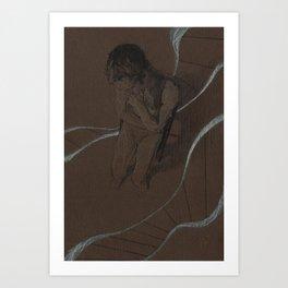 Man Figure Pencil Charcoal Drawing Realistic Minimalist Conceptual Symbolist Art Dark Brown Art Print Art Print