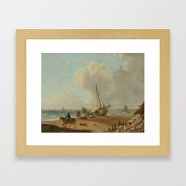 George Morland (1763-1804)  Fisherfolk unloading their catch on Freshwater Bay, Isle of Wight Framed Art Print