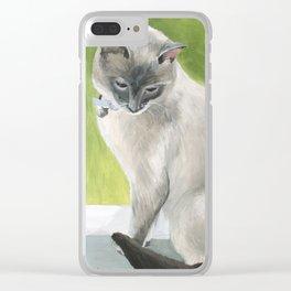 Siamese Cat Portrait Clear iPhone Case