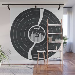 Retro Vinyl Record in Black and White Wall Mural
