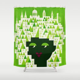 Vintage Helsinki Finland Travel Shower Curtain