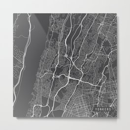 Yonkers Map, USA - Gray Metal Print