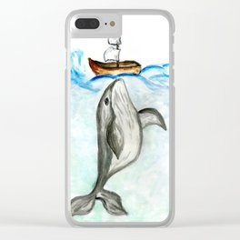 Cute whale and boat watercolor Clear iPhone Case