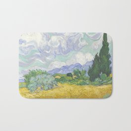 A Wheatfield with Cypresses by Vincent van Gogh Bath Mat