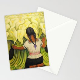 The Cuauhnāhuac Calla Lily Vendor by Diego Rivera Stationery Cards
