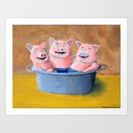 Three Pigs in a Tub Art Print