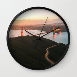 Golden Gate Bridge At Dawn - San Francisco, CA Wall Clock