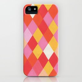 Harlequin Orange Pink iPhone Case
