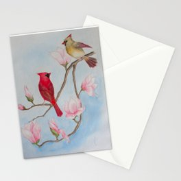 Cardinal Pair with Magnolias - Watercolor Painting Stationery Cards