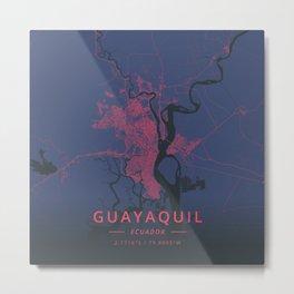 Guayaquil, Ecuador - Neon Metal Print