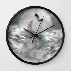 Maybe the Wolf Is In Love with the Moon v.2 (3D Effect) Wall Clock