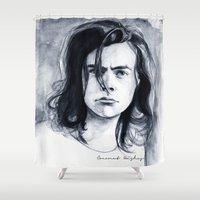 coconutwishes Shower Curtains featuring Harry Watercolors B/N by Coconut Wishes