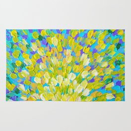 SPLASH 2 - Bright Bold Ocean Waves Beach Ripple Turquoise Aqua Lime Lemon Colorful Rainbow Wow Rug
