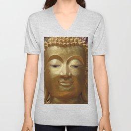 Buddha Head Illustration Design gold Unisex V-Neck